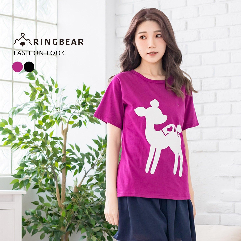 圖案短T--可愛森林系LOVE小鹿印圖氣質圓領短袖上衣(黑.紫XL-5L)-T273眼圈熊中大尺碼 0