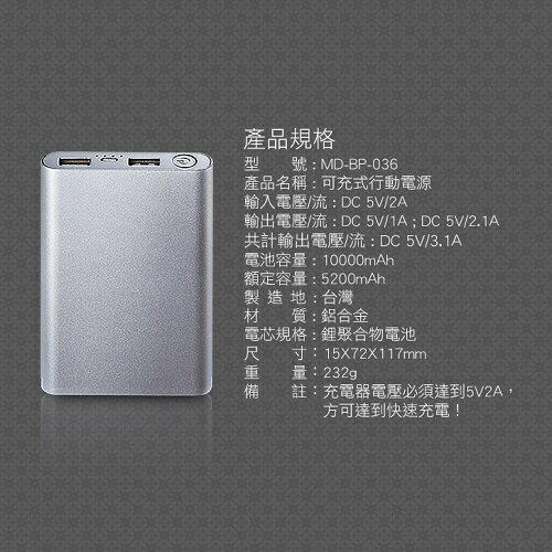 MINIQ 10000mAh 雙輸出行動電源MD-BP-036(玫瑰金) [大買家] 7