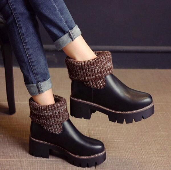 Pyf♥經典款修飾腳型針織毛線筒2way皮面厚底短靴43大尺碼女鞋