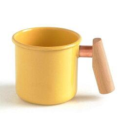 【【蘋果戶外】】Truvii 趣味 400ml 奶油黃 山毛櫸 木柄琺瑯杯 木燈 營燈 台灣設計師作品 蜂蠟油 光罩 抗菌餐具