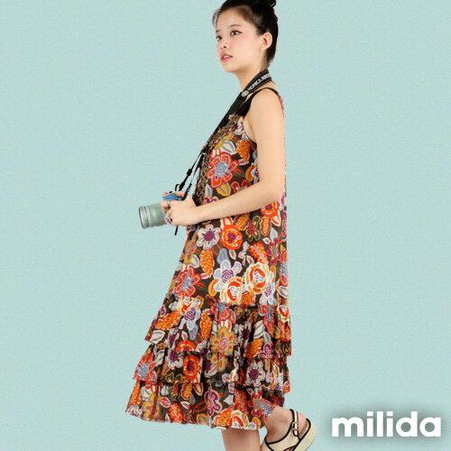 【Milida,全店七折免運】-夏季商品-無袖款-長版百摺洋裝 2