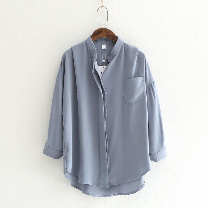 純色系小V領雪紡襯衫