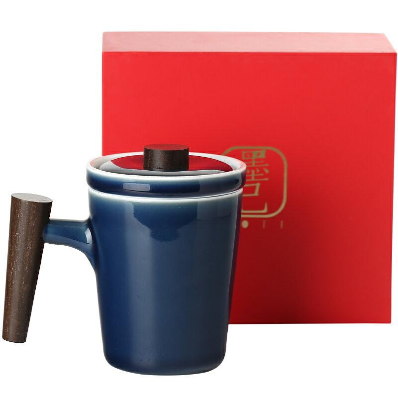 棲鳳居陶瓷木柄馬克杯辦公室泡茶杯禮盒情侶一對暖心手捧喝水杯
