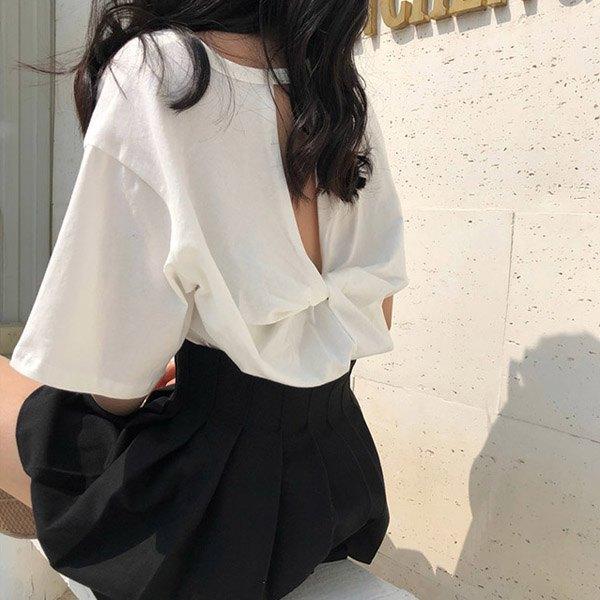 T恤素色背後交叉鏤空長版短袖T恤【MY5838】BOBI0621