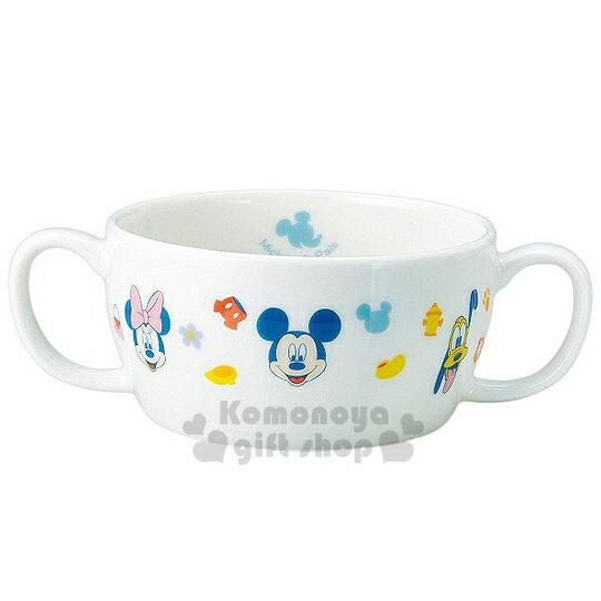 〔小禮堂〕迪士尼 米奇米妮 日製雙把手陶瓷碗《白.多大臉.角色》日本金正陶瓷.朋友系列