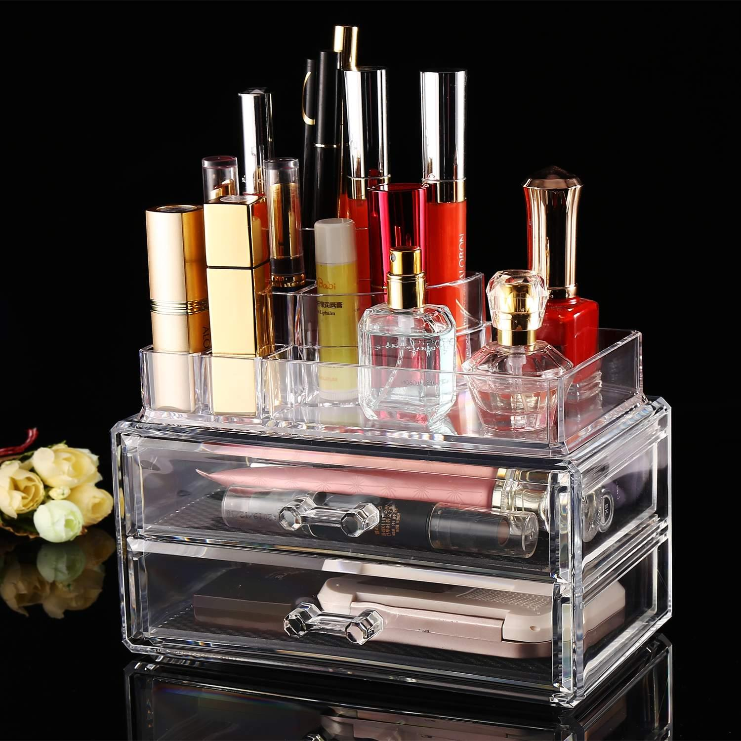 2 Drawer Container Storage Cosmetics Organizer Acrylic Display Tabletop 0