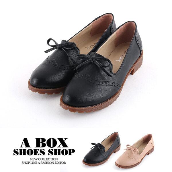 【KI728】休閒百搭牛津小蝴蝶結素色樂福鞋舒適平底低跟鞋MIT台灣製2.5CM2色