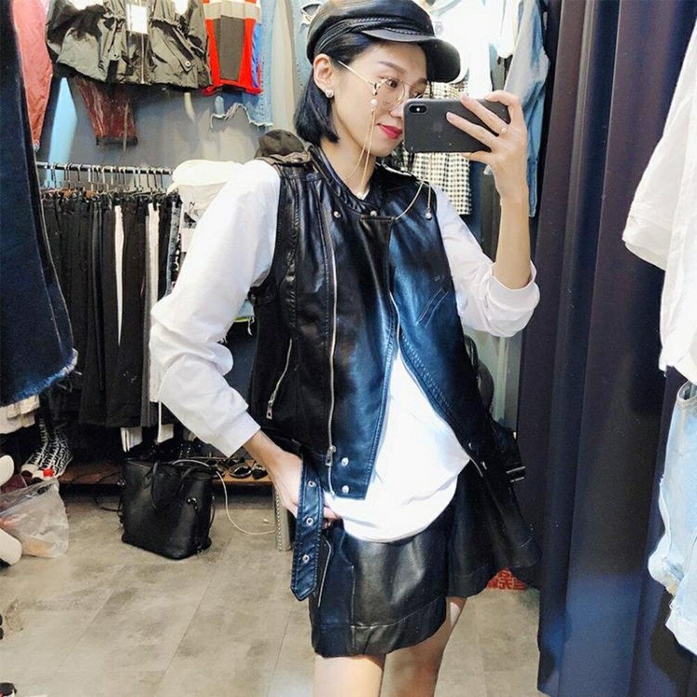 無袖皮衣 秋季新款韓版氣質馬甲女短款修身百搭無袖潮流皮背心坎肩外套 唯伊時尚