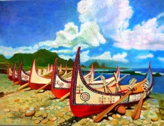 畫作磁鐵-蘭嶼拼板舟【宋苹】馬口磁鐵 / 身障畫家們透過畫作表達自己對台灣這片土地的愛 7.9cm*5.4cm*1.5cm