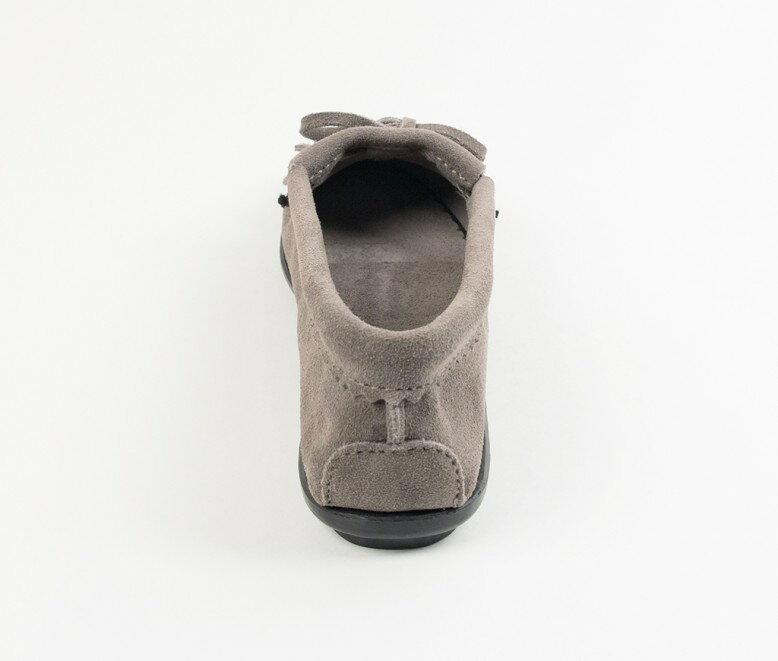 【Minnetonka 莫卡辛】灰色 - 磨砂牛皮、豆豆底、流蘇、蝴蝶結、串珠、雷鳥二代 4
