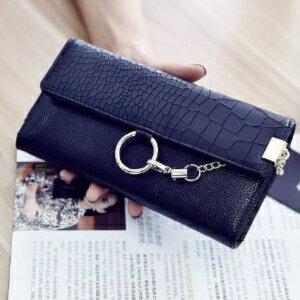 美麗大街【PCY13010025】 三色金屬扣女式長款錢包韓版PU皮軟面時尚零錢包鎖扣橫款錢夾