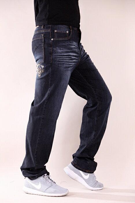 【CS衣舖 】台灣製造 刺繡 精品質感 超彈力 透氣 牛仔長褲 6561 3