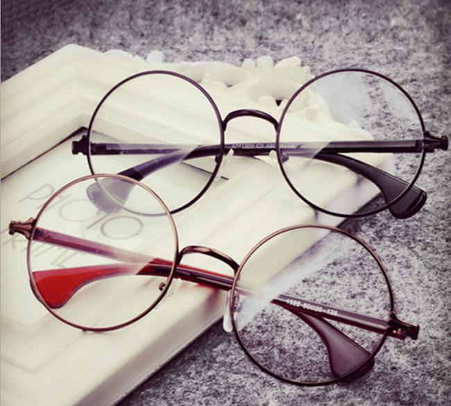 50%OFF【J009790Gls】經典款復古金屬克羅眼鏡框大框圓形框架眼鏡光學鏡附眼鏡盒防紫外線明星款反光鏡面