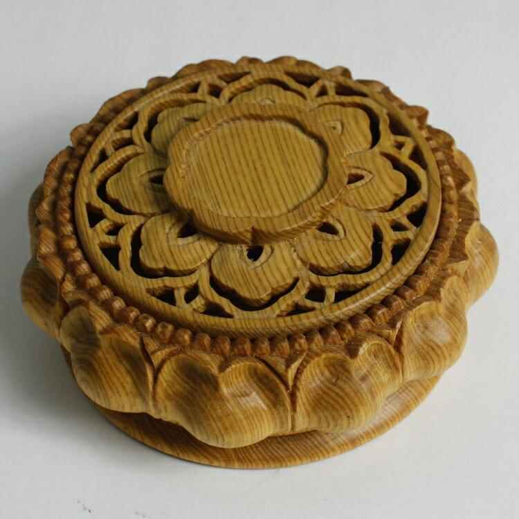 檜木手工雕刻環香爐(中)
