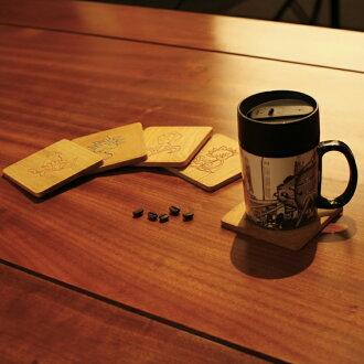 古典襯花實木杯墊(平面陰雕)