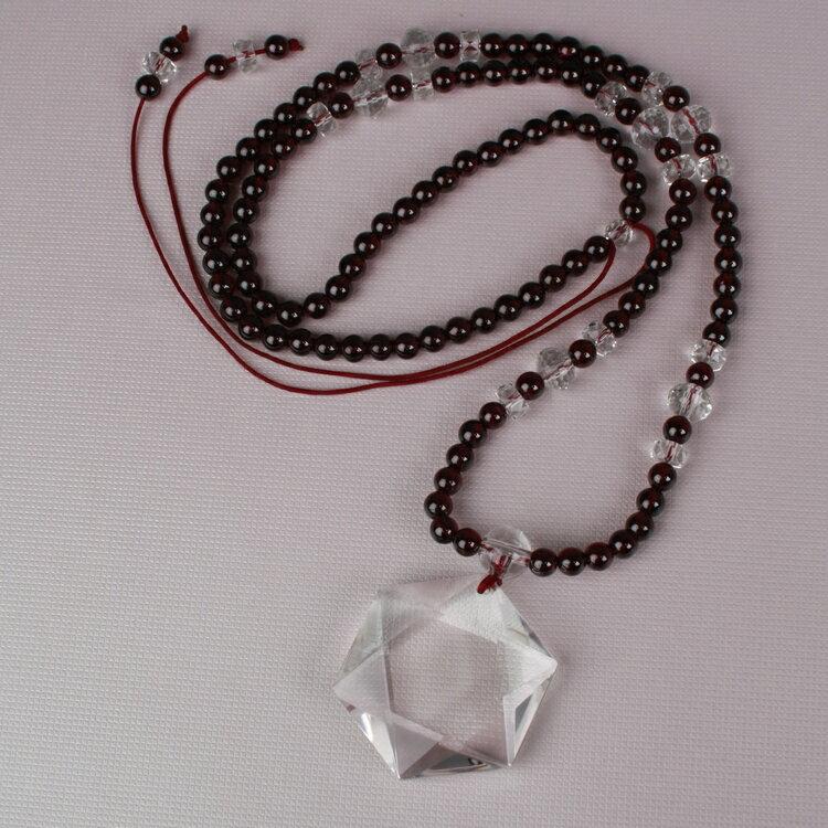 6mm  特級印度石榴石大衛之星項鍊