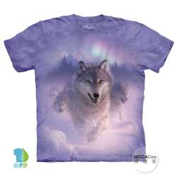 【摩達客】(預購) 美國進口The Mountain 歐若拉之狼 純棉環保短袖T恤
