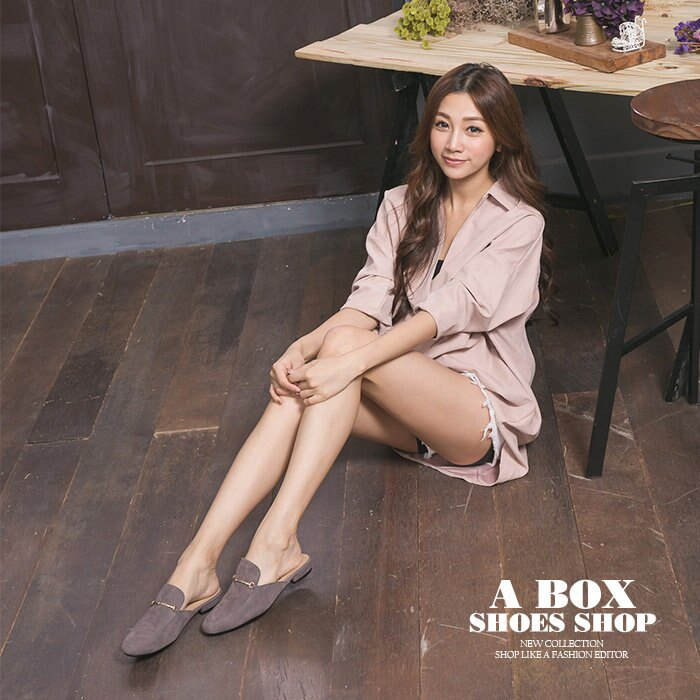 格子舖*【KW720】MIT台灣製 時尚絨布 外出/室內兩用拖鞋 1.5CM粗低跟 半包拖鞋 穆勒鞋 3色 1
