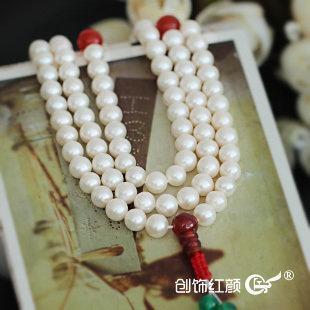 珍珠佛珠手鏈 淡水珍珠108顆佛珠多層多圈手鏈 可作項鏈兩用
