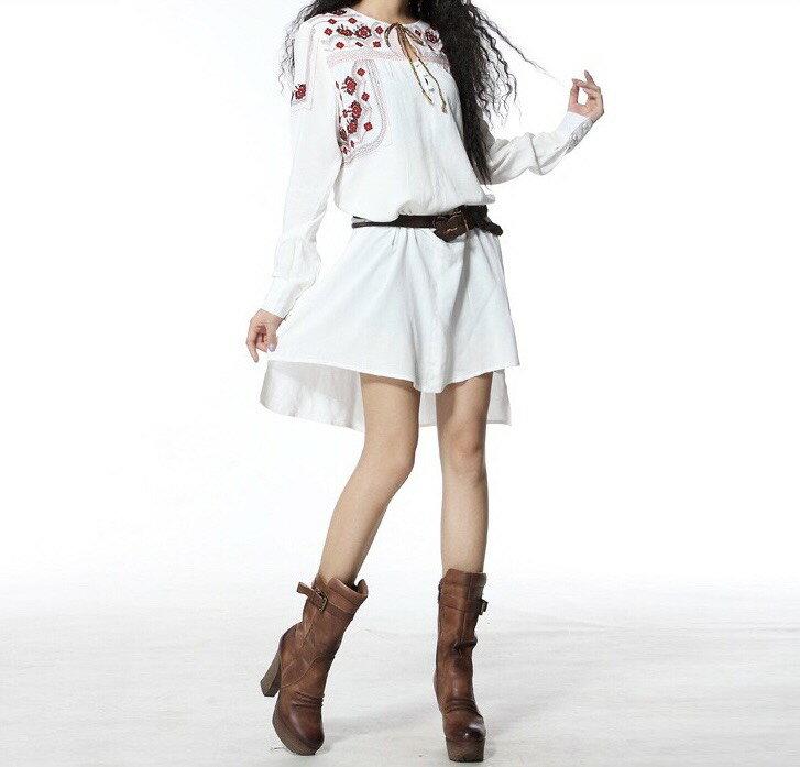 棉麻 長版襯衫 中大尺碼 白色襯裙 長袖洋裝 連衣裙 民俗風 長版上衣 華麗刺繡襯衫 ~美學達人B9019 0