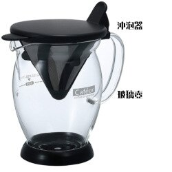 Hario V60錐形不鏽鋼濾網環保沖泡組(沖泡器+玻璃壺/CFO-2B)