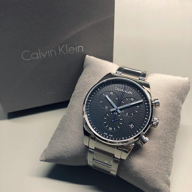 美國百分百【全新真品】Calvin Klein 經典不銹鋼 三眼計時 日期 手錶 腕錶 配件 石英錶 瑞士製造 BA64