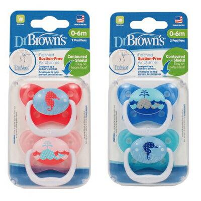 【悅兒樂婦幼用品舘】Dr Brown's美國布朗博士 Prevent功能性人體工學安撫奶嘴(兩入裝)0-6個月-粉/藍