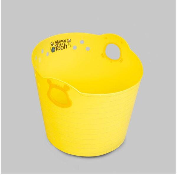 X射線【C313741】小熊維尼WinniethePooh日本製黃色置物籃-24L,雜物籃收納籃衛浴用品籃手提籃置物籃玩具箱