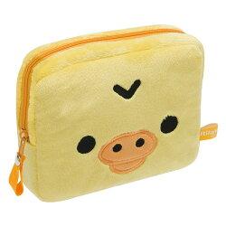 【真愛日本】16093000021  絨毛方化妝包-大臉小雞  SAN-X 懶熊  奶熊 拉拉熊   收納袋  零錢包