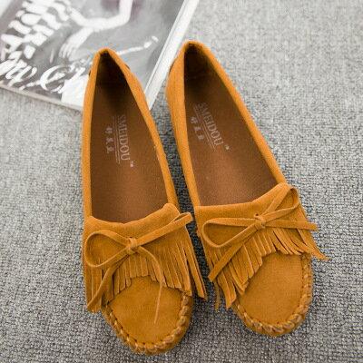 女鞋新款平底鞋蝴蝶結流蘇軟底平底鞋圓頭豆豆鞋孕婦莫卡辛鞋