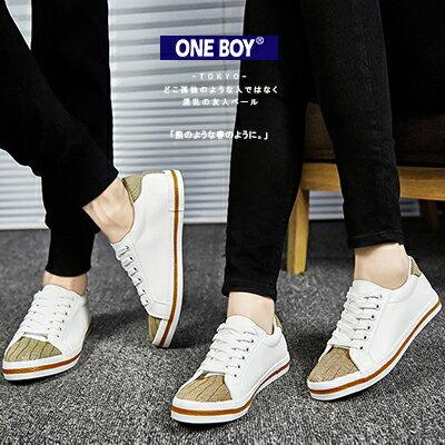 『 One Boy 』【R51516】玩樂無印好搭條紋皮革質感綁帶情侶休閒鞋