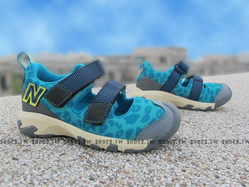 《下殺7折》Shoestw【KD555BGI】NEW BALANCE 涼鞋 拖鞋 童鞋 小童鞋 藍豹紋 護指涼鞋 免綁帶