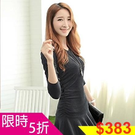 《早春新品5折》早春韓國修身顯瘦性感V領魚尾裙洋裝-S-XL-梅西蒂絲(現貨+預購)