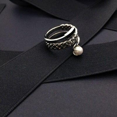 ~925純銀戒指珍珠銀飾~典雅 麻花 生日情人節 女飾品73ic26~ ~~米蘭 ~