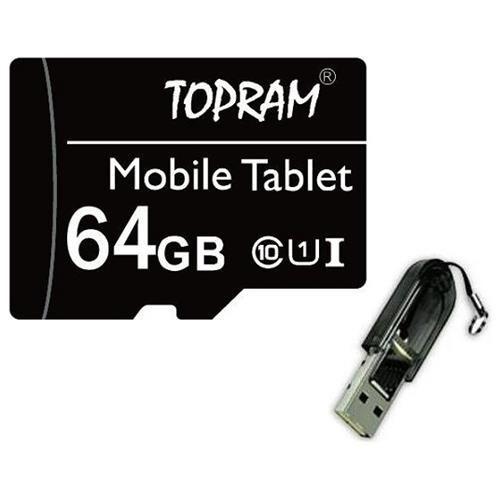 Topram 64GB microSDXC UHS-I Class 10 64G microSD micro SD SDXC C10 Ultra Speed Card + USB 2.0 Reader 0