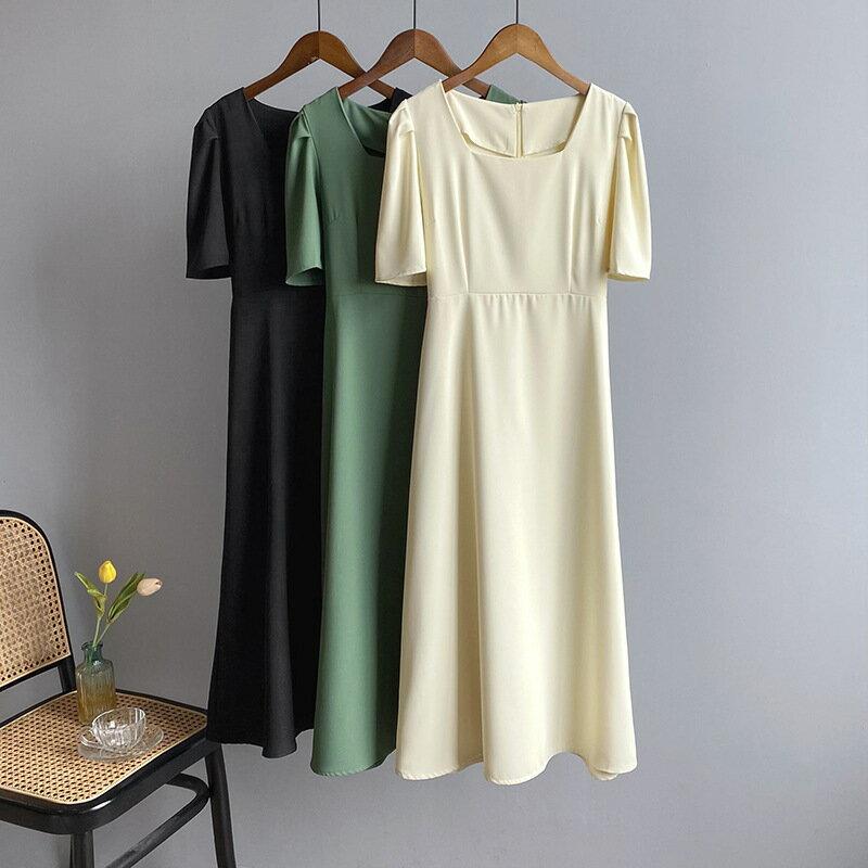 2021夏復古方領中長連衣裙收腰女簡約純色氣質顯瘦A字裙 連身裙 洋裝
