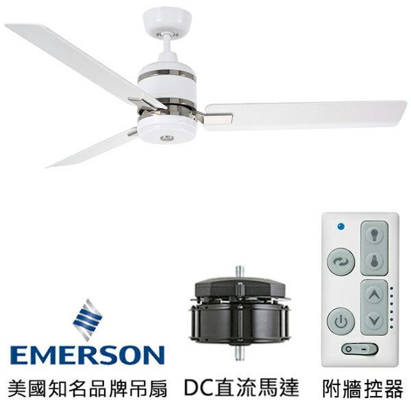 [topfan]EmersonIdealEco54英吋DC直流馬達吊扇吊扇附LED燈(CF330SW)亮鎳色砂白色(適用於110V電壓)
