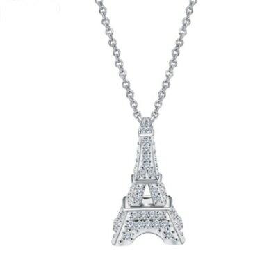 ~925純銀項鍊 鍍白金鑲鑽吊墜~精緻獨特巴黎鐵塔生日情人節 女飾品73ct107~ ~~