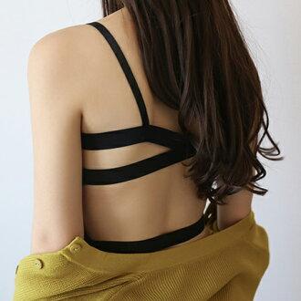 性感美背 寬帶交叉背心 V領 彈性 罩杯 露背 半截 內搭 小可愛 細肩帶背心【N201702】