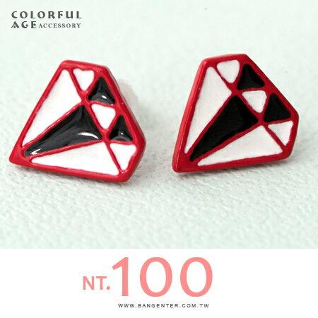 耳針耳環 個性混色感鑽石造型 簡單又注目 柒彩年代【ND308】一對 - 限時優惠好康折扣
