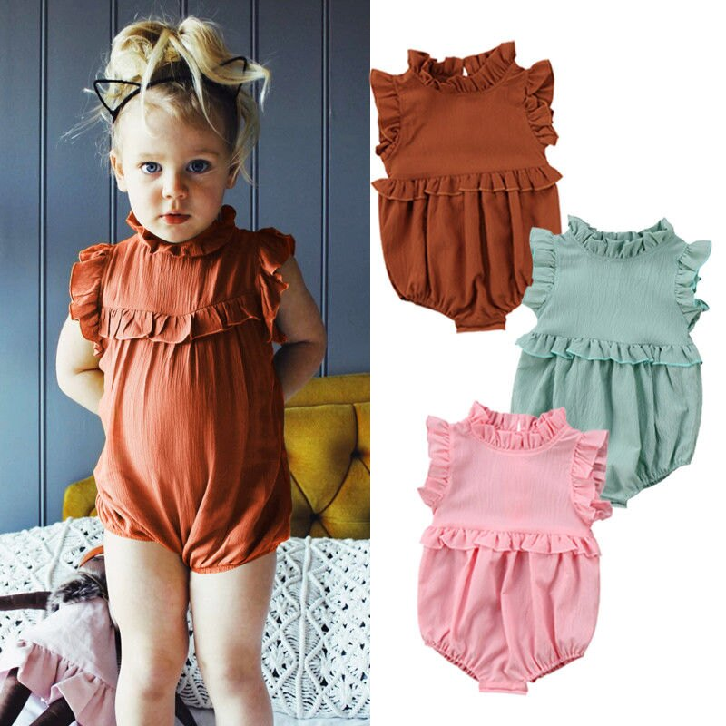 ce106db97286 Newborn Baby Girl Ruffle Romper Jumpsuit Bodysuit Clothes Outfit Summer  Stock 0