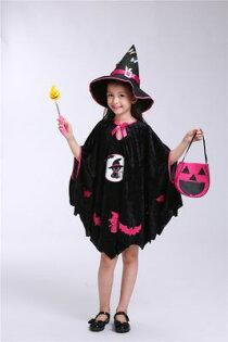 小朋友萬聖節化妝舞會服裝角色扮演42(送魔法棒+魔法帽+南瓜袋)