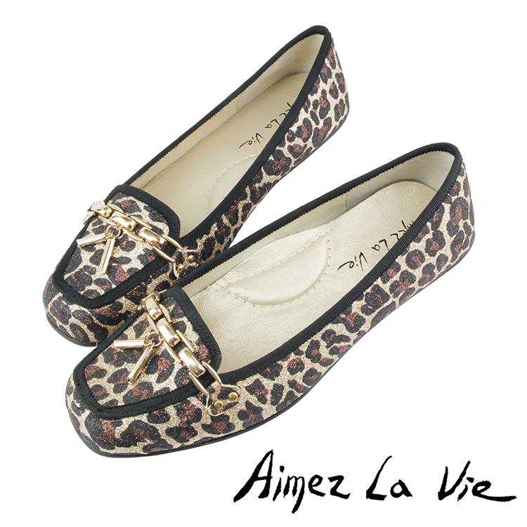 Aimez La Vie 豆豆底舒適通勤金屬鍊方頭平底鞋 2