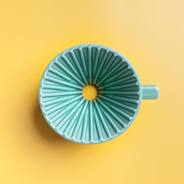 珈堂星芒濾杯-極 綠色 Kadou & Hasami波佐見燒 M1 陶瓷錐形濾杯 (1-2人份) 咖啡濾杯《vvcafe》 0