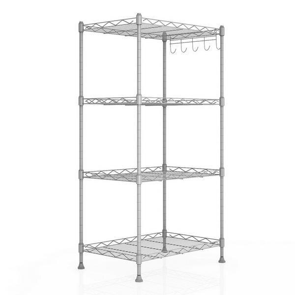 Kitchen Wire Shelving 4-Shelf Storage Organizer Rack Adjustable Height with Side Hooks 5