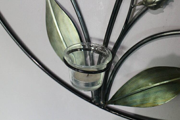 歐式巴洛克復古花朵壁飾鐵藝燭臺 送蠟燭和大口杯 別墅家居裝飾品1入