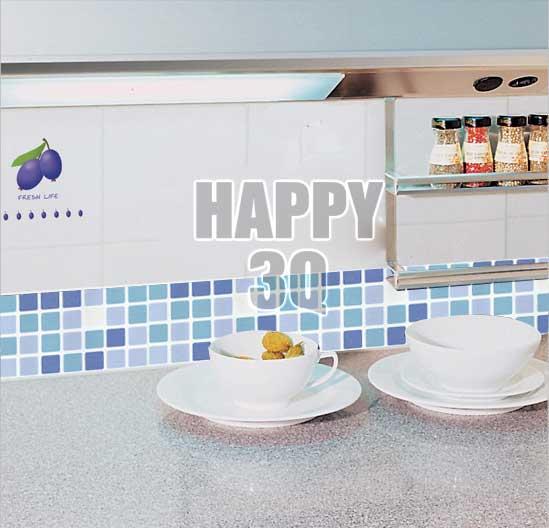 馬賽克瓷磚貼紙腰線牆貼廚房浴室衛浴廁所防水自粘PVC牆紙壁紙10X50CM-多色【AAA0343】