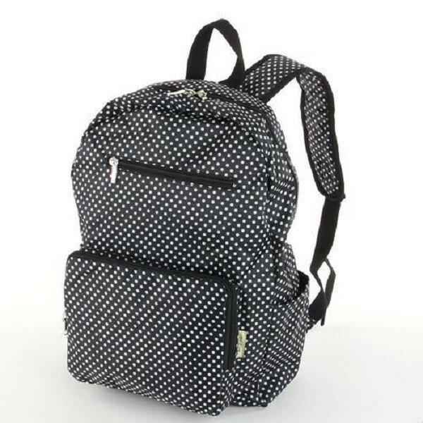 摺疊收納旅行後背包 -日本設計款多種顏色上市 - 黑底白點 - 限時優惠好康折扣