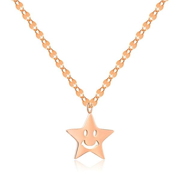 【5折超值價】時尚精美精緻微笑星星造型女款鈦鋼項鍊