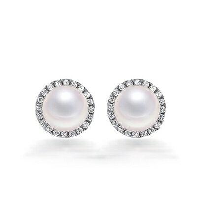 ~925純銀耳環鑲鑽耳飾~ 大方珍珠 生日情人節 女飾品73dy50~ ~~米蘭 ~
